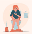 Woman sitting on toilet with mobile phone