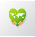world map on heart shape vector image vector image