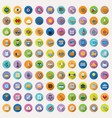 100 flat icons collection vector image