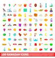 100 ramadan icons set cartoon style vector image