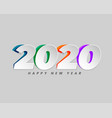 2020 in creative paper cut style background vector image