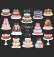cakes set hand drawn colorful doodle vector image vector image