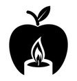 candle apple icon simple black style vector image vector image