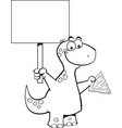 cartoon brontosaurus holding a slice of pizza and vector image vector image