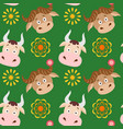 cartoon cow and buffalo seamless childish pattern vector image vector image