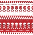 Caution tape with skulls red borders vector image