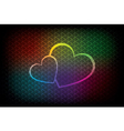 Colorful background with two hearts vector image vector image