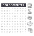 computer editable line icons 100 set vector image vector image