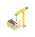 Construction of house with tower crane icon vector image vector image