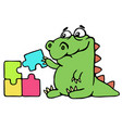cute dinosaur assemble the puzzles vector image