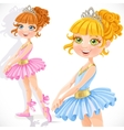 Cute little ballerina girl in tiara isolated on a vector image