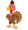 cute turkey cartoon posing vector image vector image