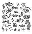 doodles underwater icons set vector image vector image