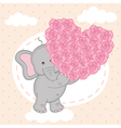 elephant holding heart of roses on cloud vector image vector image