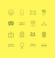 furniture linear icon set simple outline icons vector image