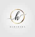gold elegant initial letter type h vector image vector image