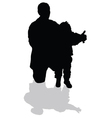 grandfather holding his granddaughter black vector image vector image