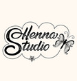 hand drawn decorated lettering henna studio vector image