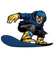happy man playing snowboard vector image vector image