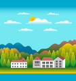 hills and mountains landscape with house farm in vector image vector image
