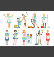 hotel professional maids with cleaning equipment vector image vector image