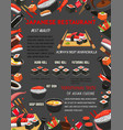 japanese restaurant sushi and hot dishes menu vector image vector image