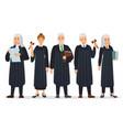judges team law judge in black robe costume vector image