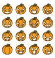 lineart halloween pumpkin decoration scary faces vector image vector image