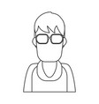 man faceless profile black and white vector image