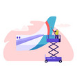 man washer cleaning tail part from plane character vector image vector image