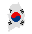 Map of South Korea with flag vector image vector image