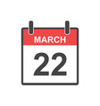march 22 calendar icon in flat style vector image vector image
