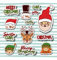 merry christmas with stickers faces of snowman and vector image vector image