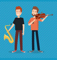 music festival live with men playing saxophone and vector image vector image