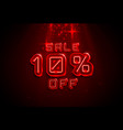 neon frame 10 off text banner night sign board vector image vector image