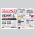 newspaper design template vector image vector image