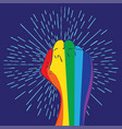 rainbow clenched fist design vector image vector image