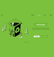 recycling - line design style isometric web banner vector image vector image