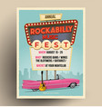 rockabilly music festival flyer template vector image vector image