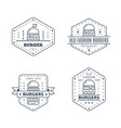set burgers badge design line art vector image vector image