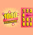 set of numbers for thank you followers design vector image