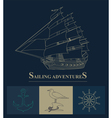 Set of sailing boat and nautical logos vector image vector image