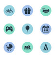 set of simple holiday icons vector image vector image