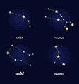 set of zodiac constellations aries taurus gemini vector image