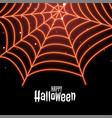 spider cobweb in neon style happy halloween vector image