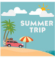 summer trip van umbrella blue sky background vector image vector image