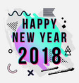 trendy new year 2018 greeting card with chaotic vector image vector image