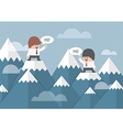 two businessmen standing on top mountain vector image vector image