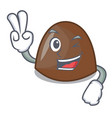 two finger chocolate candies character cartoon vector image