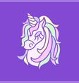 unicorn head icon on the purple background vector image vector image